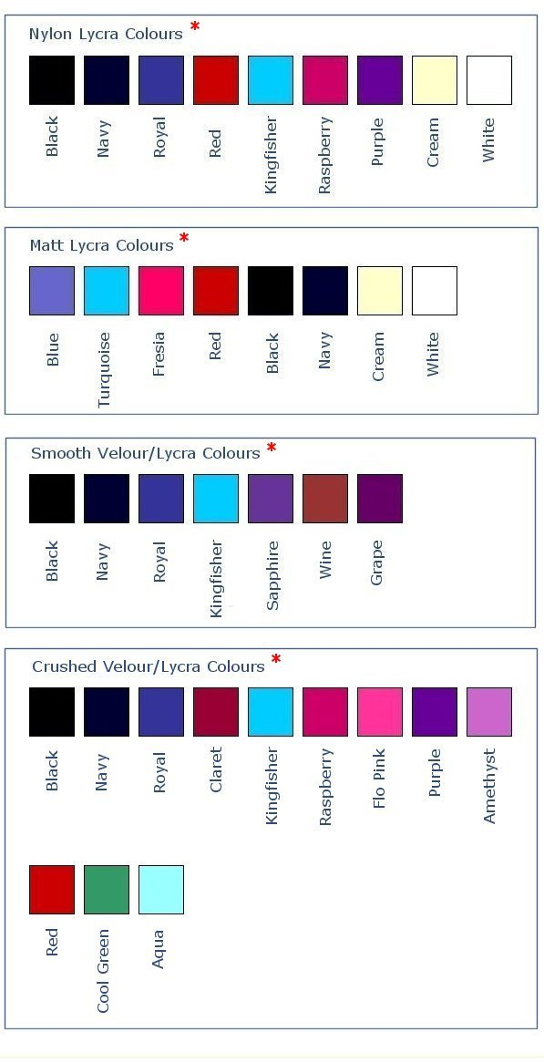 Zone Gymnastics Leotards Colour Charts