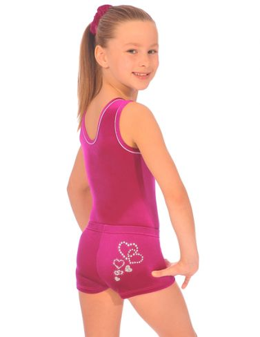 Girls Cerise Velour Valentine Gymnastics Shorties