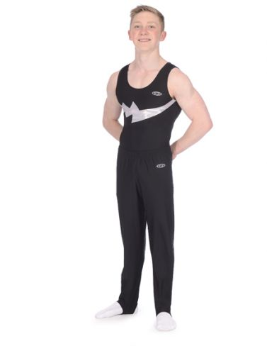 Storm Black & Silver Matt Boys Sleeveless Gymnastics Leotard Z354STO