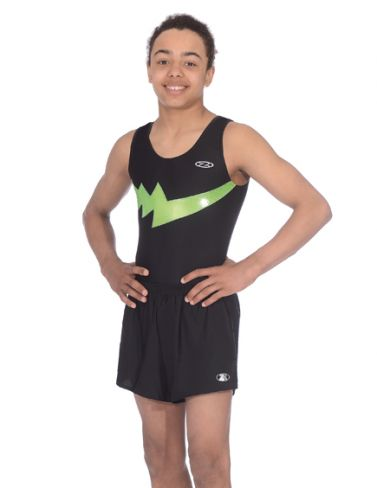 Storm Black & Lime Boys Sleeveless Gymnastics Leotard Z354STO