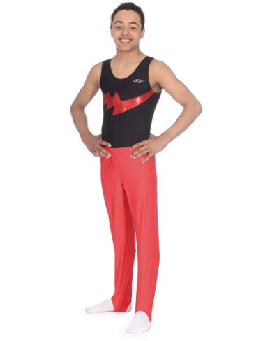 Storm Black & Red Boys Sleeveless Gymnastics Leotard Z354STO