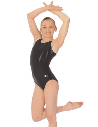 Glam Black Sleeveless Gymnastics Leotard