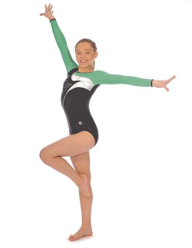 Green Cosmic Long Sleeve Gymnastics Leotard