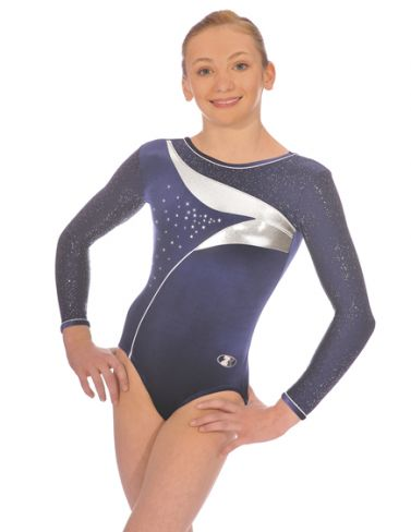 Navy Cosmic Long Sleeve Gymnastics Leotard