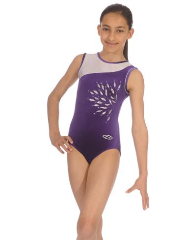 Eclipse Grape Sleeveless Gymnastics Leotard