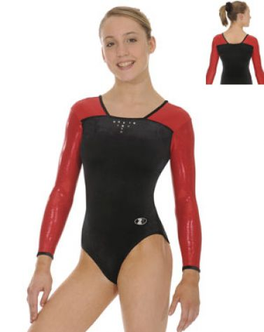 Black and Red Deluxe Long Sleeve Gymnastics Leotard