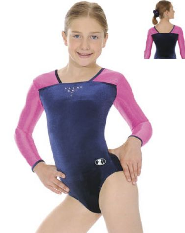 Navy and Pink Deluxe Long Sleeve Gymnastics Leotard