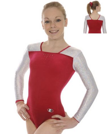Wine and Silver Deluxe Long Sleeve Gymnastics Leotard