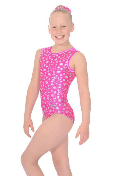 Flo Pink Astral All Over Print Sleeveless Gymnastics Leotard - Z943AST