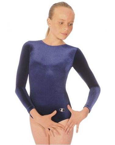Navy Long Sleeve Velour Gymnastics Leotard