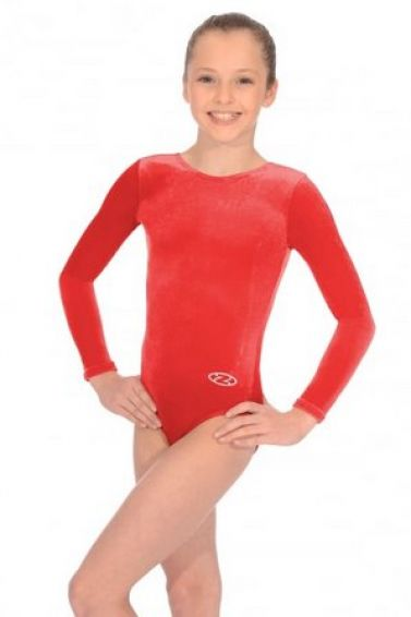 Red Long Sleeve Velour Gymnastics Leotard