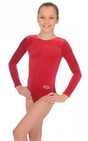 Wine Long Sleeve Velour Gymnastics Leotard