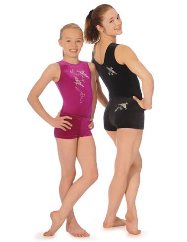 Spirit Black Sleeveless Gymnastics Leotard