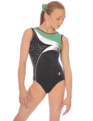 Green Cosmic Sleeveless Gymnastics Leotard