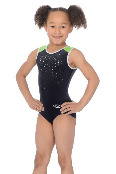 Sinead Black Lime Sleeveless Gymnastics Leotard - The Zone Z414SINE