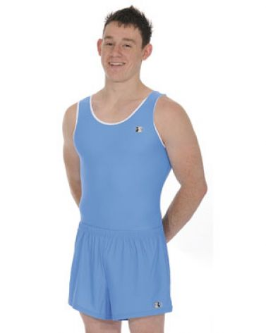 c5e092a5f789 Mens   Boys Blue Sleeveless Ace Gymnastics Leotard