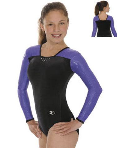 Black and Purple Deluxe Long Sleeve Gymnastics Leotard