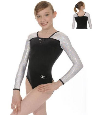 Black and Silver Deluxe Long Sleeve Gymnastics Leotard
