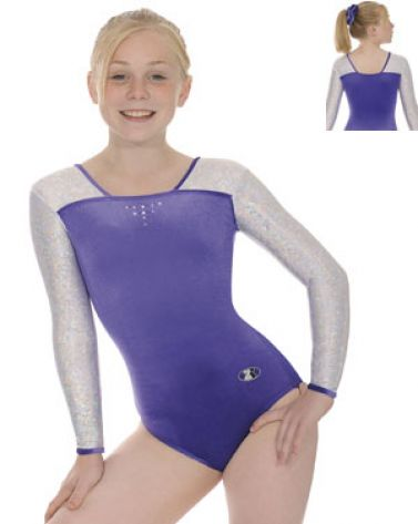 Sapphire and Silver Deluxe Long Sleeve Gymnastics Leotard